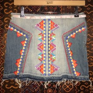 Embroidered Jean skirt